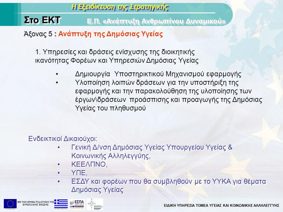 ΕΙΔΙΚΗ ΥΠΗΡΕΣΙΑ ΤΟΜΕΑ ΥΓΕΙΑΣ ΚΑΙ ΚΟΙΝΩΝΙΚΗΣ ΑΛΛΗΛΕΓΓΥΗΣ ΜΕ ΤΗΝ XΡΗΜΑΤΟΔΟΤΗΣΗ ΤΗΣ ΕΥΡΩΠΑΙΚΗΣ ΕΝΩΣΗΣ Η Εξειδίκευση της Στρατηγικής Στο ΕΚΤ Άξονας 5 : Άξ