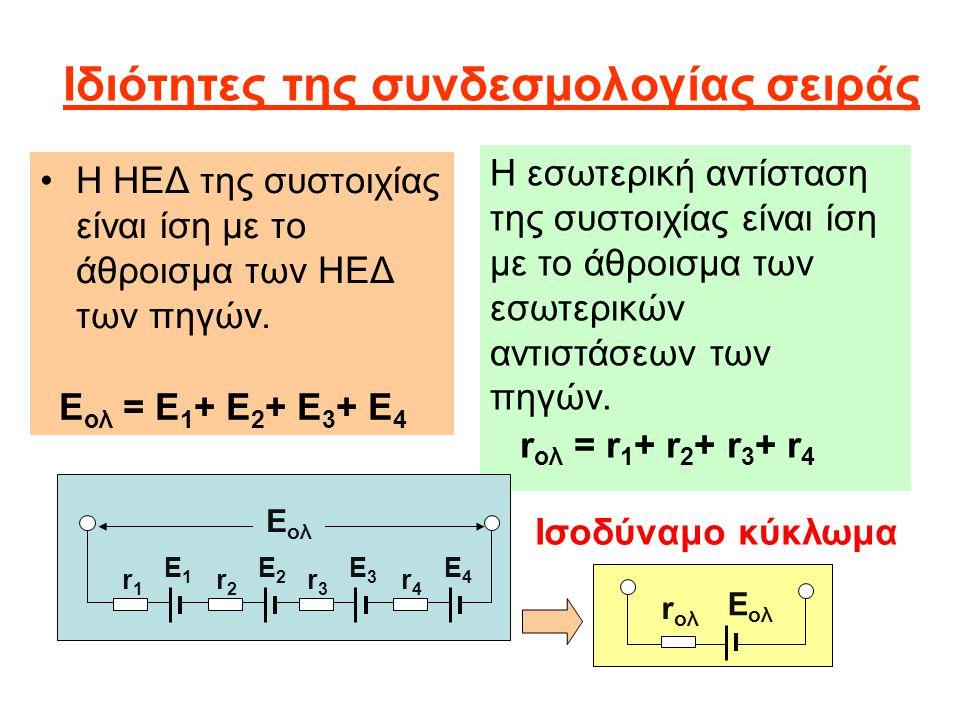 Ιδιότητες της συνδεσμολογίας σειράς Η ΗΕΔ της συστοιχίας είναι ίση με το άθροισμα των ΗΕΔ των πηγών. Ε ολ = Ε 1 + Ε 2 + Ε 3 + Ε 4 Ε ολ r ολ Η εσωτερικ