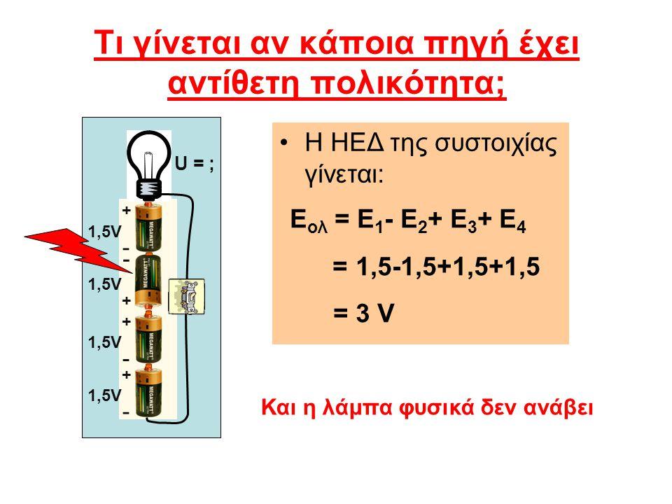 Τι γίνεται αν κάποια πηγή έχει αντίθετη πολικότητα; Η ΗΕΔ της συστοιχίας γίνεται: Ε ολ = Ε 1 - Ε 2 + Ε 3 + Ε 4 = 1,5-1,5+1,5+1,5 = 3 V Και η λάμπα φυσ