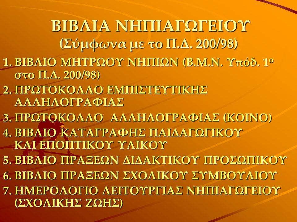 ΒΙΒΛΙΑ ΝΗΠΙΑΓΩΓΕΙΟΥ (Σύμφωνα με το Π.Δ. 200/98) 1. ΒΙΒΛΙΟ ΜΗΤΡΩΟΥ ΝΗΠΙΩΝ (Β.Μ.Ν. Υπόδ. 1 ο στο Π.Δ. 200/98) 2. ΠΡΩΤΟΚΟΛΛΟ ΕΜΠΙΣΤΕΥΤΙΚΗΣ ΑΛΛΗΛΟΓΡΑΦΙΑΣ