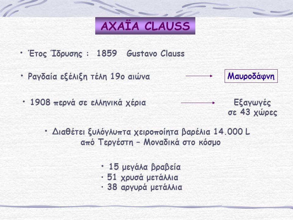 AΧΑΪA CLAUSS Έτος Ίδρυσης : 1859 Gustavo Clauss Ραγδαία εξέλιξη τέλη 19ο αιώνα Μαυροδάφνη 1908 περνά σε ελληνικά χέρια Εξαγωγές σε 43 χώρες 15 μεγάλα