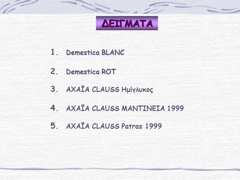 ΔΕΙΓΜΑΤΑ 1. 1. Demestica BLAΝC 2. 2. Demestica ROT 3. 3. AΧΑΪΑ CLAUSS Ημίγλυκος 4. 4. AΧΑΪΑ CLAUSS ΜΑΝΤΙΝΕΙΑ 1999 5. 5. AΧΑΪΑ CLAUSS Patras 1999