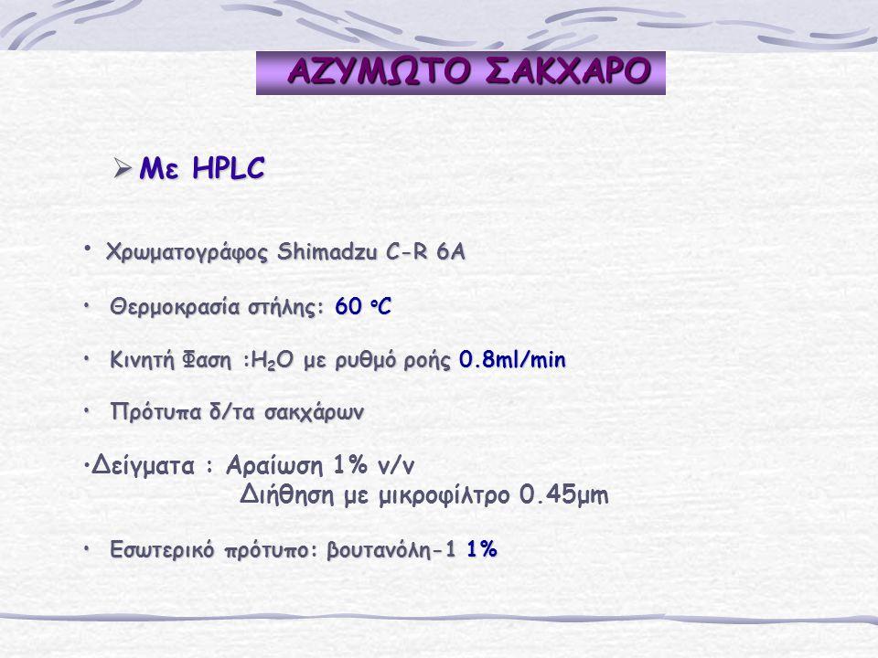 ΑΖΥΜΩΤΟ ΣΑΚΧΑΡΟ ΑΖΥΜΩΤΟ ΣΑΚΧΑΡΟ  Mε HPLC Χρωματογράφος Shimadzu C-R 6A Χρωματογράφος Shimadzu C-R 6A Θερμοκρασία στήλης: 60 o C Θερμοκρασία στήλης: 60 o C Κινητή Φαση :H 2 O με ρυθμό ροής 0.8ml/min Κινητή Φαση :H 2 O με ρυθμό ροής 0.8ml/min Πρότυπα δ/τα σακχάρων Πρότυπα δ/τα σακχάρων Δείγματα : Αραίωση 1% v/v Διήθηση με μικροφίλτρο 0.45μm Εσωτερικό πρότυπο: βουτανόλη-1 1% Εσωτερικό πρότυπο: βουτανόλη-1 1%