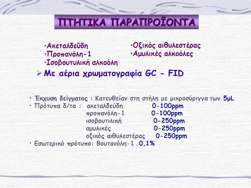 ΠΤΗΤΙΚΑ ΠΑΡΑΠΡΟΪΟΝΤΑ   Με αέρια χρωματογραφία GC - FID Ακεταλδεϋδη Προπανόλη-1 Iσοβουτυλική αλκοόλη Οξικός αιθυλεστέρας Αμυλικές αλκοόλες Έκχυση δείγματος : Έκχυση δείγματος : Κατευθείαν στη στήλη με μικροσύριγγα των 5μL Πρότυπα δ/τα : ακεταλδεύδη 0-100ppm προπανόλη-1 0-100ppm ισοβουτιλική 0-250ppm αμυλικές 0-250ppm oξικός αιθυλεστέρας 0-250ppm Εσωτερικό πρότυπο: Bουτανόλη-1 0,1%