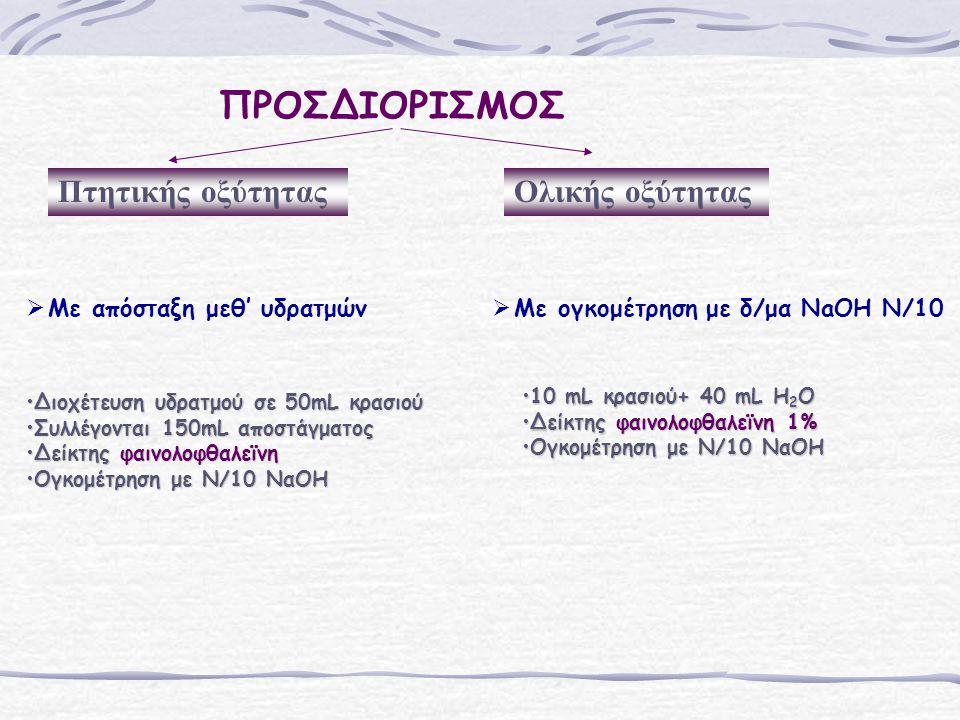 ΠΡΟΣΔΙΟΡΙΣΜΟΣ Πτητικής οξύτηταςΟλικής οξύτητας   Με απόσταξη μεθ' υδρατμών   Με ογκομέτρηση με δ/μα NaOH N/10 Διοχέτευση υδρατμού σε 50mL κρασιούΔιοχέτευση υδρατμού σε 50mL κρασιού Συλλέγονται 150mL αποστάγματοςΣυλλέγονται 150mL αποστάγματος Δείκτης φαινολοφθαλεϊνηΔείκτης φαινολοφθαλεϊνη Ογκομέτρηση με Ν/10 ΝαΟΗΟγκομέτρηση με Ν/10 ΝαΟΗ 10 mL κρασιού+ 40 mL H 2 O10 mL κρασιού+ 40 mL H 2 O Δείκτης φαινολοφθαλεϊνη 1%Δείκτης φαινολοφθαλεϊνη 1% Ογκομέτρηση με Ν/10 ΝαΟΗΟγκομέτρηση με Ν/10 ΝαΟΗ