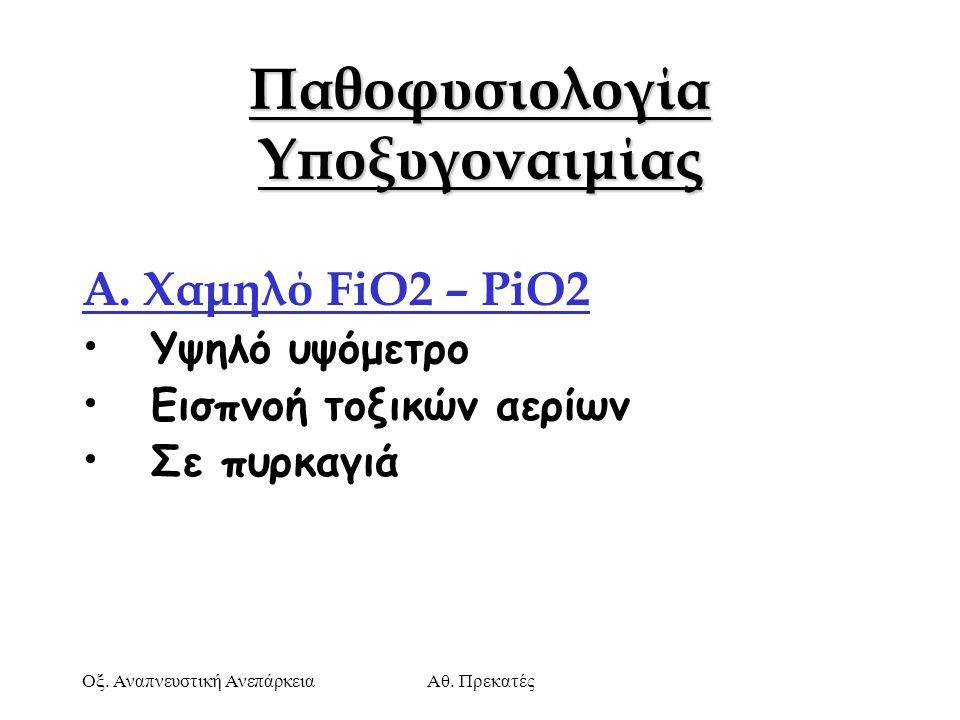 Οξ. Αναπνευστική ΑνεπάρκειαΑθ. Πρεκατές Παθοφυσιολογία Υποξυγοναιμίας Α. Χαμηλό FiO2 – ΡiO2 Υψηλό υψόμετρο Εισπνοή τοξικών αερίων Σε πυρκαγιά