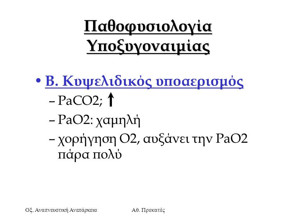 Οξ. Αναπνευστική ΑνεπάρκειαΑθ. Πρεκατές Παθοφυσιολογία Υποξυγοναιμίας Β. Κυψελιδικός υποαερισμός –PaCO2; –PaO2: χαμηλή –χορήγηση Ο2, αυξάνει την PaO2