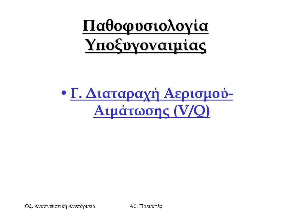 Οξ. Αναπνευστική ΑνεπάρκειαΑθ. Πρεκατές Παθοφυσιολογία Υποξυγοναιμίας Γ. Διαταραχή Αερισμού- Αιμάτωσης (V/Q)