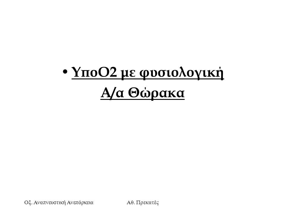 Οξ. Αναπνευστική ΑνεπάρκειαΑθ. Πρεκατές ΥποΟ2 με φυσιολογική Α/α Θώρακα