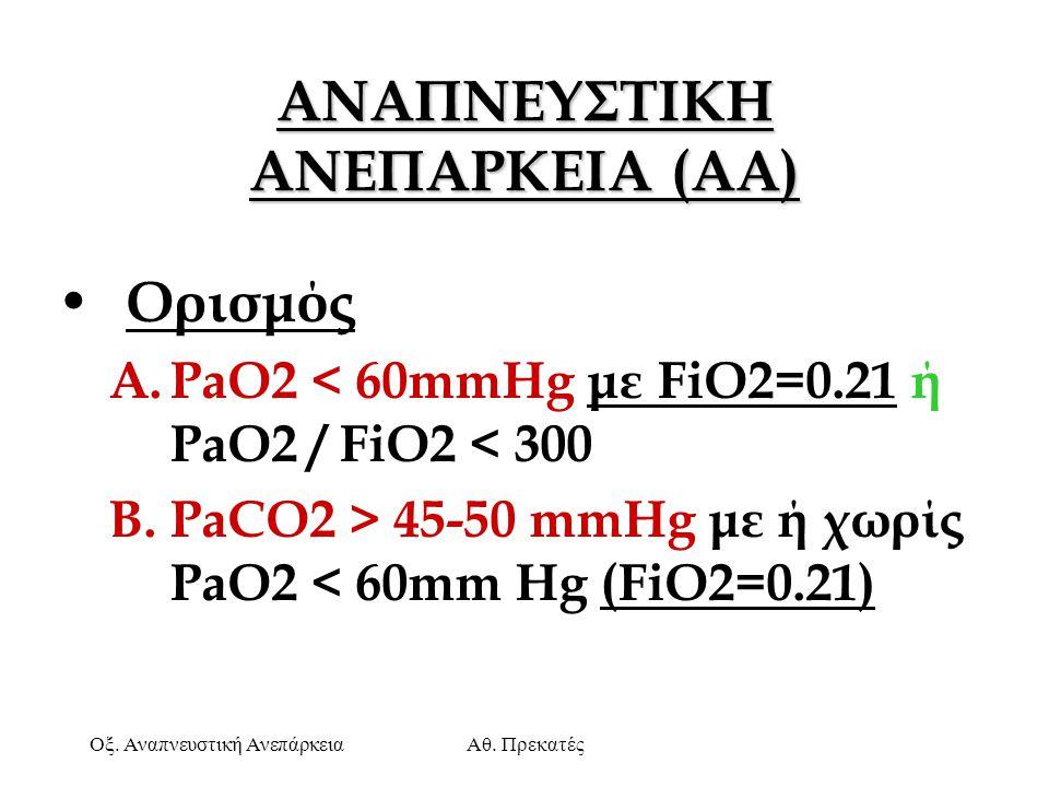 Οξ. Αναπνευστική ΑνεπάρκειαΑθ. Πρεκατές ΑΝΑΠΝΕΥΣΤΙΚΗ ΑΝΕΠΑΡΚΕΙΑ (AA) Ορισμός A.PaO2 < 60mmHg με FiO2=0.21 ή PaO2 / FiO2 < 300 B.PaCO2 > 45-50 mmHg με