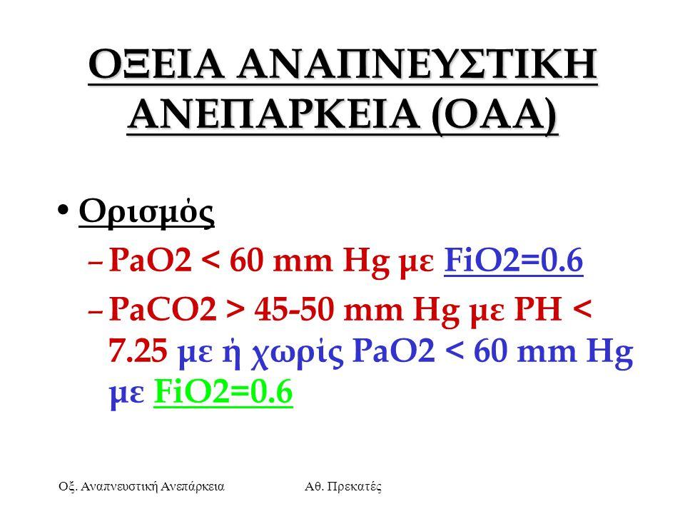 Οξ. Αναπνευστική ΑνεπάρκειαΑθ. Πρεκατές ΟΞΕΙΑ ΑΝΑΠΝΕΥΣΤΙΚΗ ΑΝΕΠΑΡΚΕΙΑ (OAA) Ορισμός – PaO2 < 60 mm Hg με FiO2=0.6 – PaCO2 > 45-50 mm Hg με ΡΗ < 7.25 μ