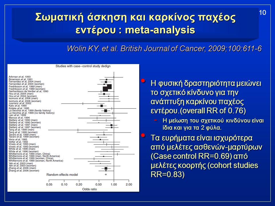10 Σωματική άσκηση και καρκίνος παχέος εντέρου : meta-analysis Η φυσική δραστηριότητα μειώνει το σχετικό κίνδυνο για την ανάπτυξη καρκίνου παχέος εντέ
