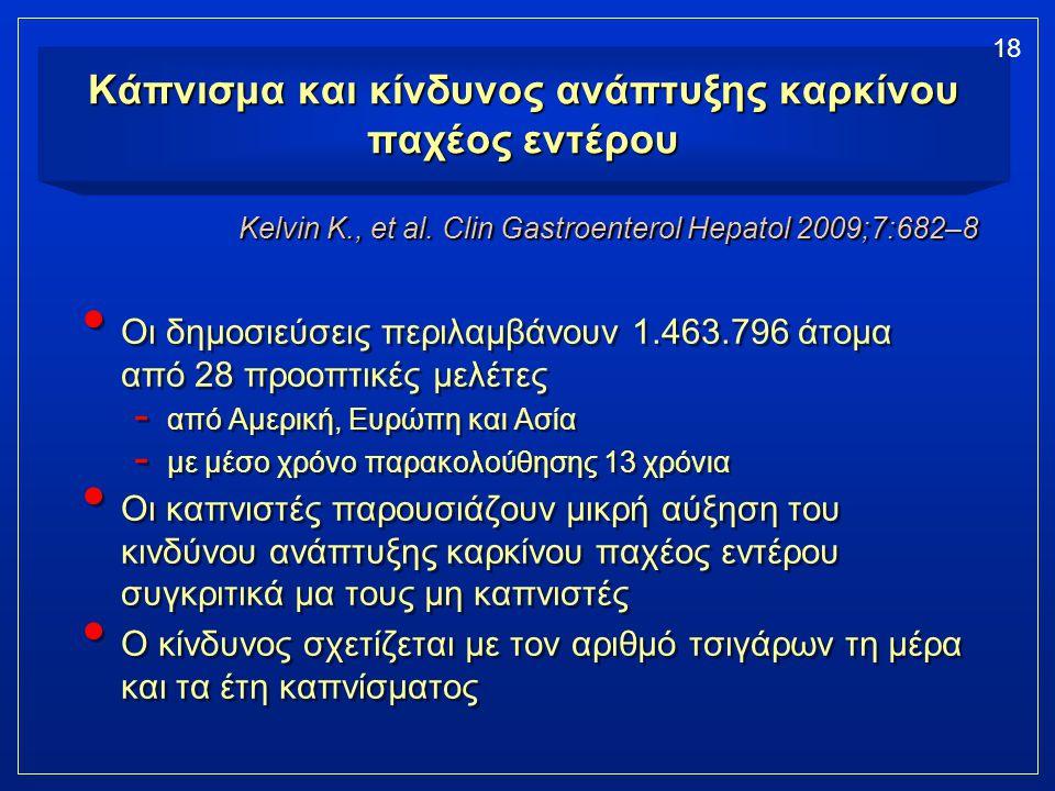 Κάπνισμα και κίνδυνος ανάπτυξης καρκίνου παχέος εντέρου Οι δημοσιεύσεις περιλαμβάνουν 1.463.796 άτομα από 28 προοπτικές μελέτες - από Αμερική, Ευρώπη