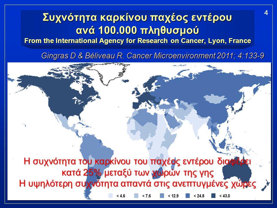Συχνότητα καρκίνου παχέος εντέρου ανά 100.000 πληθυσμού From the International Agency for Research on Cancer, Lyon, France 4 Gingras D & Béliveau R. C