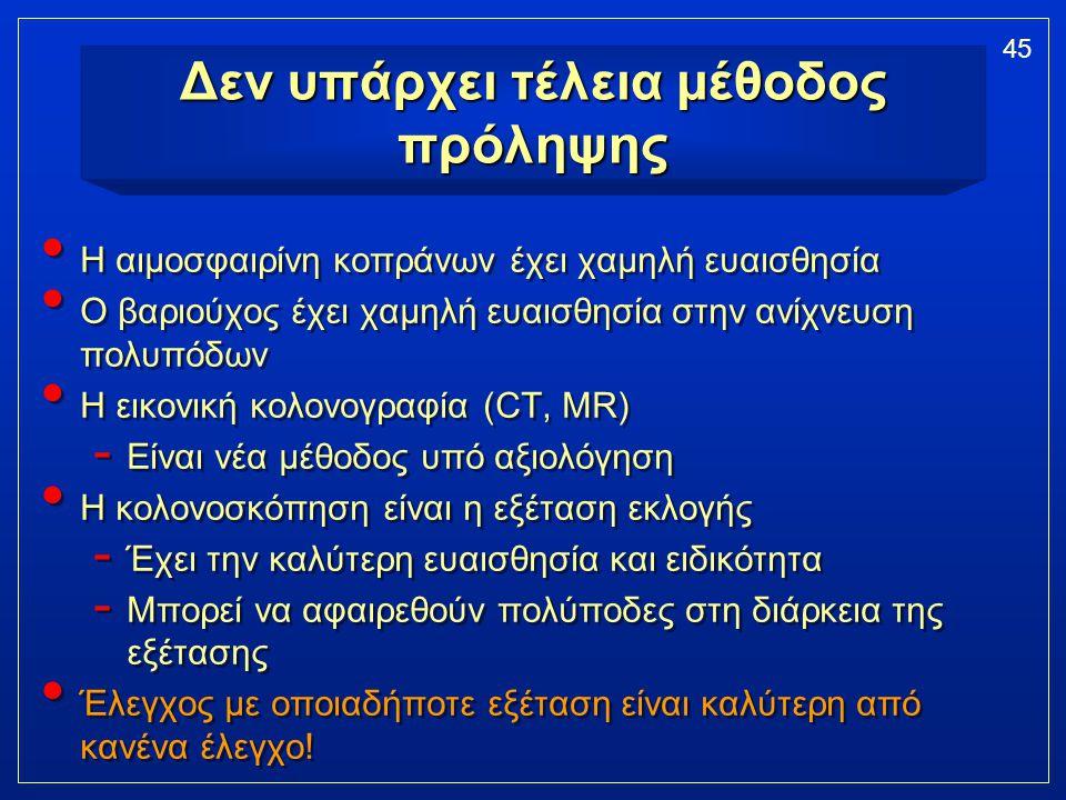 45 Δεν υπάρχει τέλεια μέθοδος πρόληψης Η αιμοσφαιρίνη κοπράνων έχει χαμηλή ευαισθησία Ο βαριούχος έχει χαμηλή ευαισθησία στην ανίχνευση πολυπόδων Η ει