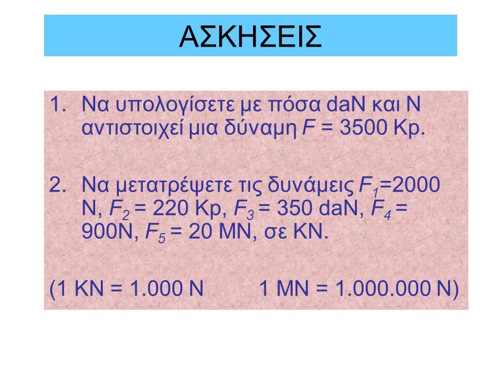 ΑΣΚΗΣΕΙΣ 1.Να υπολογίσετε με πόσα daN και N αντιστοιχεί μια δύναμη F = 3500 Kp.