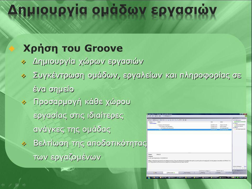  Χρήση του Groove  Δημιουργία χώρων εργασιών  Συγκέντρωση ομάδων, εργαλείων και πληροφορίας σε ένα σημείο  Προσαρμογή κάθε χώρου εργασίας στις ιδιαίτερες ανάγκες της ομάδας  Βελτίωση της αποδοτικότητας των εργαζομένων