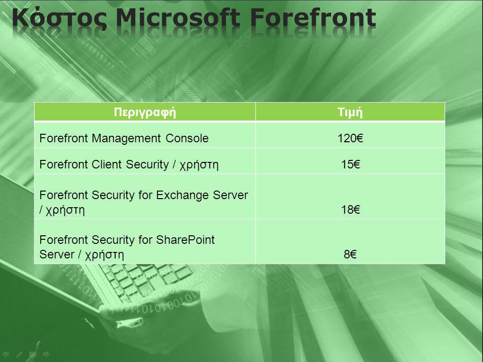 ΠεριγραφήΤιμή Forefront Management Console120€ Forefront Client Security / χρήστη15€ Forefront Security for Exchange Server / χρήστη18€ Forefront Secu