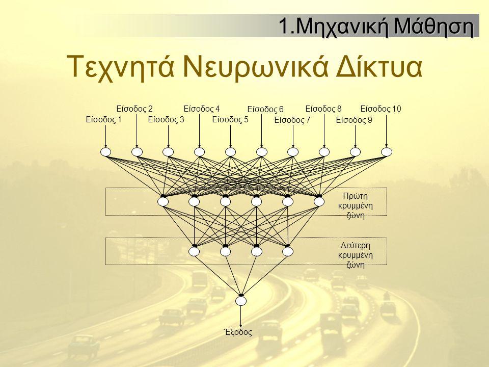 Τεχνητά Νευρωνικά Δίκτυα 1.Μηχανική Μάθηση Πρώτη κρυμμένη ζώνη Δεύτερη κρυμμένη ζώνη Είσοδος 3Είσοδος 1 Είσοδος 2Είσοδος 4 Είσοδος 5 Είσοδος 6 Είσοδος 7 Είσοδος 8 Είσοδος 9 Είσοδος 10 Έξοδος
