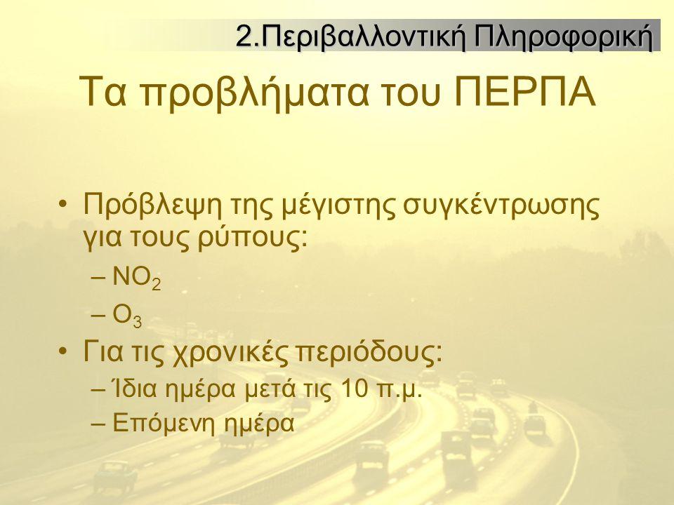 Τα προβλήματα του ΠΕΡΠΑ Πρόβλεψη της μέγιστης συγκέντρωσης για τους ρύπους: –ΝΟ 2 –Ο 3 Για τις χρονικές περιόδους: –Ίδια ημέρα μετά τις 10 π.μ.