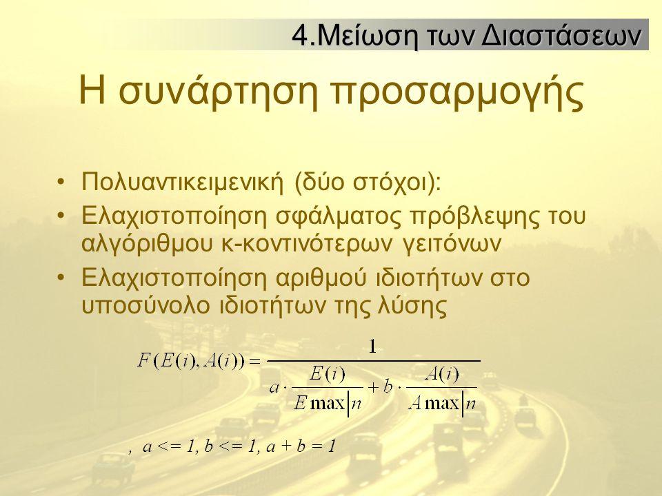 Η συνάρτηση προσαρμογής Πολυαντικειμενική (δύο στόχοι): Ελαχιστοποίηση σφάλματος πρόβλεψης του αλγόριθμου κ-κοντινότερων γειτόνων Ελαχιστοποίηση αριθμού ιδιοτήτων στο υποσύνολο ιδιοτήτων της λύσης, a <= 1, b <= 1, a + b = 1 4.Μείωση των Διαστάσεων