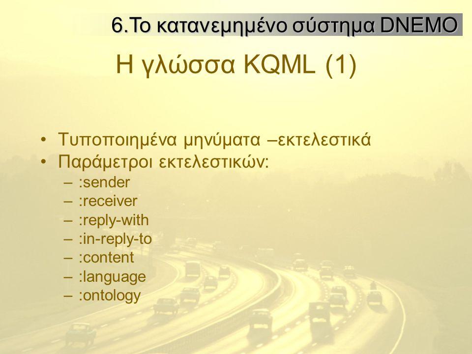 Η γλώσσα KQML (1) Τυποποιημένα μηνύματα –εκτελεστικά Παράμετροι εκτελεστικών: –:sender –:receiver –:reply-with –:in-reply-to –:content –:language –:ontology 6.Το κατανεμημένο σύστημα DNEMO