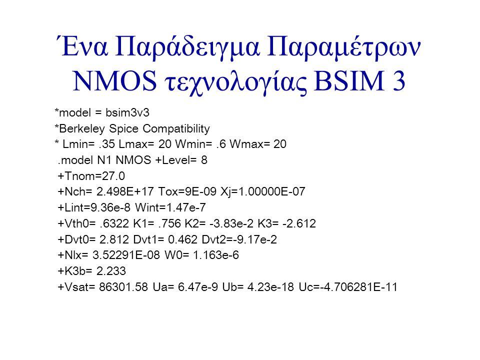 Ένα Παράδειγμα Παραμέτρων NMOS τεχνολογίας BSIM 3 *model = bsim3v3 *Berkeley Spice Compatibility * Lmin=.35 Lmax= 20 Wmin=.6 Wmax= 20.model N1 NMOS +Level= 8 +Tnom=27.0 +Nch= 2.498E+17 Tox=9E-09 Xj=1.00000E-07 +Lint=9.36e-8 Wint=1.47e-7 +Vth0=.6322 K1=.756 K2= -3.83e-2 K3= -2.612 +Dvt0= 2.812 Dvt1= 0.462 Dvt2=-9.17e-2 +Nlx= 3.52291E-08 W0= 1.163e-6 +K3b= 2.233 +Vsat= 86301.58 Ua= 6.47e-9 Ub= 4.23e-18 Uc=-4.706281E-11