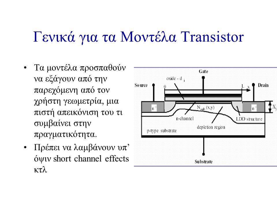Γενικά για τα Μοντέλα Transistor Τα μοντέλα προσπαθούν να εξάγουν από την παρεχόμενη από τον χρήστη γεωμετρία, μια πιστή απεικόνιση του τι συμβαίνει στην πραγματικότητα.