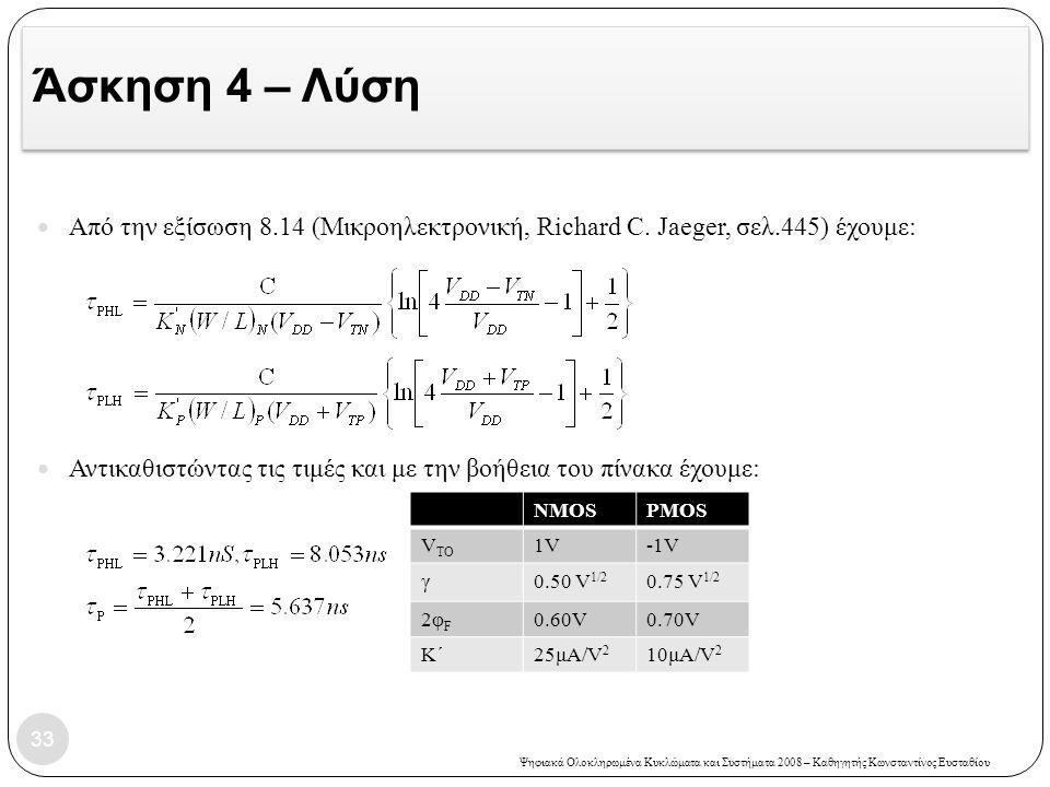 Ψηφιακά Ολοκληρωμένα Κυκλώματα και Συστήματα 2008 – Καθηγητής Κωνσταντίνος Ευσταθίου Άσκηση 4 – Λύση Από την εξίσωση 8.14 (Μικροηλεκτρονική, Richard C.