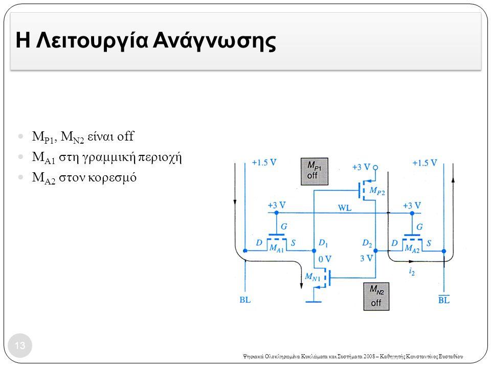 Ψηφιακά Ολοκληρωμένα Κυκλώματα και Συστήματα 2008 – Καθηγητής Κωνσταντίνος Ευσταθίου Η Λειτουργία Ανάγνωσης M P1, M N2 είναι off Μ Α1 στη γραμμική περιοχή Μ Α2 στον κορεσμό 13