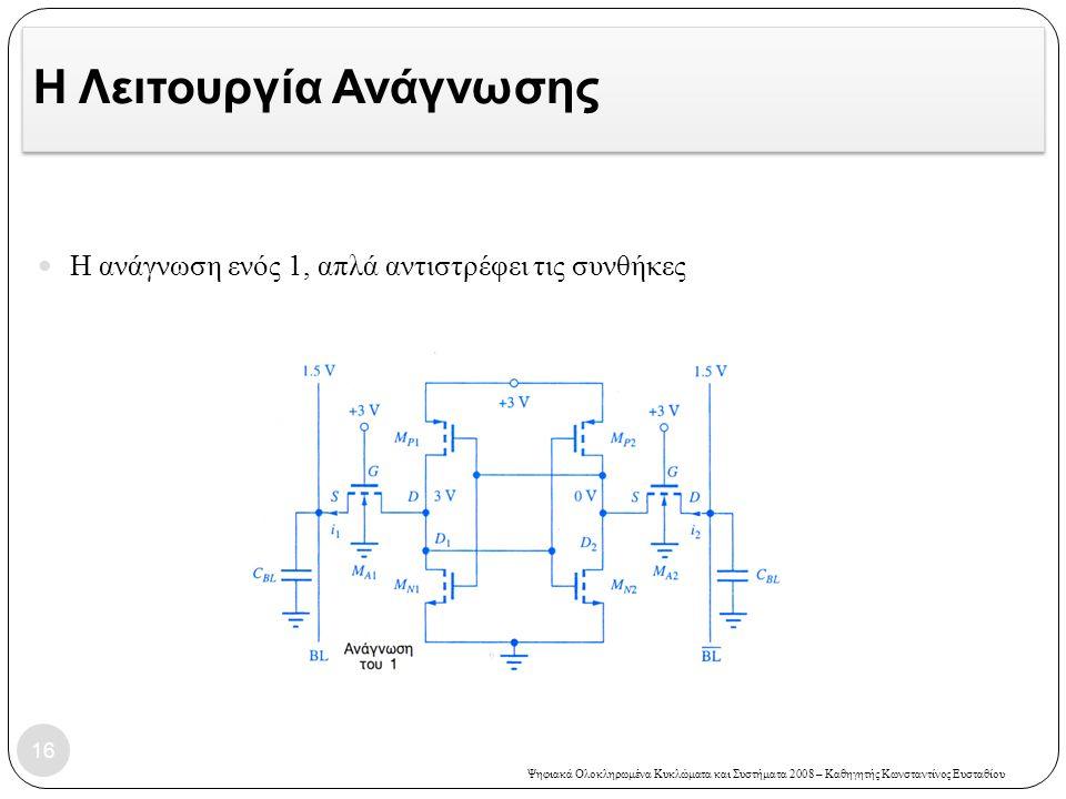 Ψηφιακά Ολοκληρωμένα Κυκλώματα και Συστήματα 2008 – Καθηγητής Κωνσταντίνος Ευσταθίου Η Λειτουργία Ανάγνωσης Η ανάγνωση ενός 1, απλά αντιστρέφει τις συνθήκες 16