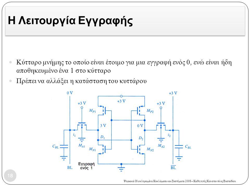 Ψηφιακά Ολοκληρωμένα Κυκλώματα και Συστήματα 2008 – Καθηγητής Κωνσταντίνος Ευσταθίου Η Λειτουργία Εγγραφής Κύτταρο μνήμης το οποίο είναι έτοιμο για μια εγγραφή ενός 0, ενώ είναι ήδη αποθηκευμένο ένα 1 στο κύτταρο Πρέπει να αλλάξει η κατάσταση του κυττάρου 18
