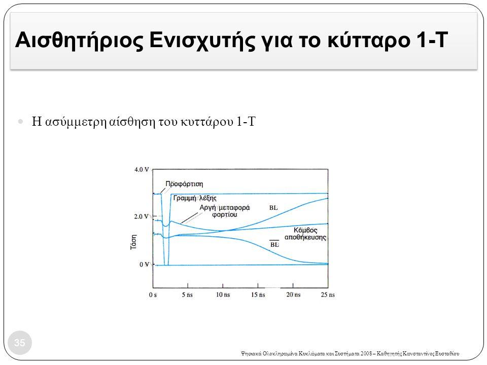 Ψηφιακά Ολοκληρωμένα Κυκλώματα και Συστήματα 2008 – Καθηγητής Κωνσταντίνος Ευσταθίου Αισθητήριος Ενισχυτής για το κύτταρο 1-T 35 Η ασύμμετρη αίσθηση του κυττάρου 1-Τ