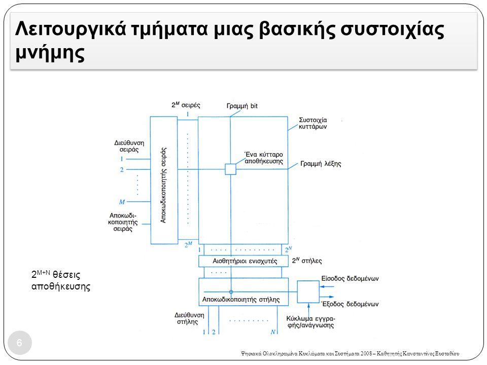Ψηφιακά Ολοκληρωμένα Κυκλώματα και Συστήματα 2008 – Καθηγητής Κωνσταντίνος Ευσταθίου Λειτουργικά τμήματα μιας βασικής συστοιχίας μνήμης 6 2 Μ+Ν θέσεις αποθήκευσης