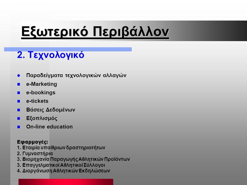 Εξωτερικό Περιβάλλον 2. Τεχνολογικό Παραδείγματα τεχνολογικών αλλαγών n e-Marketing n e-bookings n e-tickets n Βάσεις Δεδομένων n Εξοπλισμός n On-line