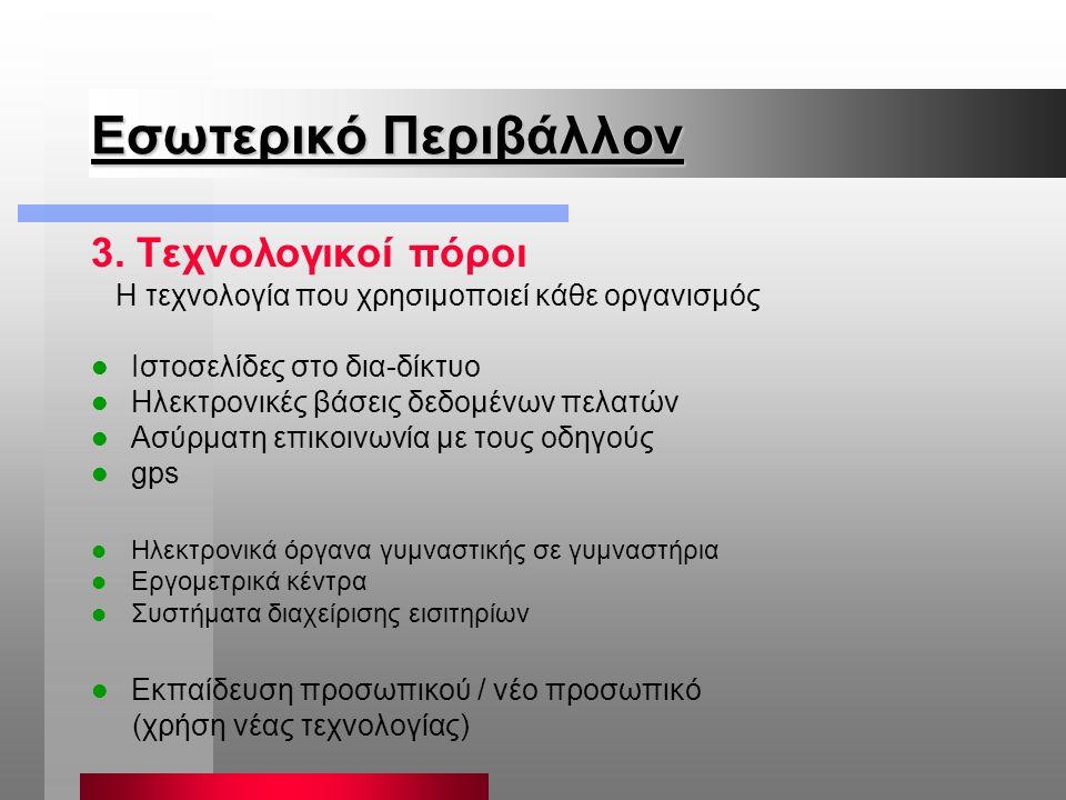 Εσωτερικό Περιβάλλον 3. Τεχνολογικοί πόροι Η τεχνολογία που χρησιμοποιεί κάθε οργανισμός Ιστοσελίδες στο δια-δίκτυο Ηλεκτρονικές βάσεις δεδομένων πελα