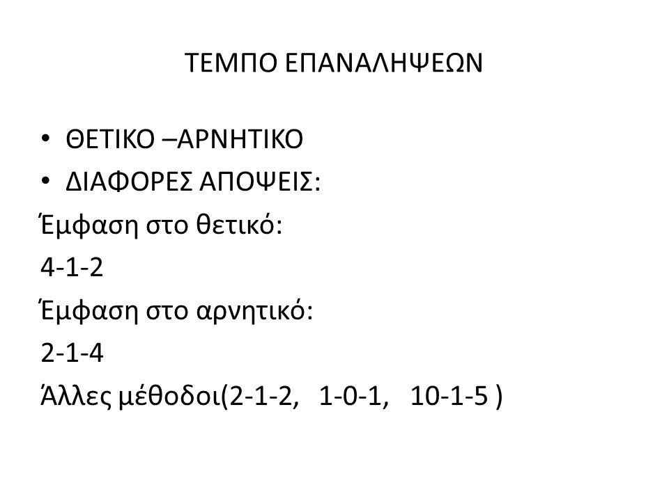 ΤΕΜΠΟ ΕΠΑΝΑΛΗΨΕΩΝ ΘΕΤΙΚΟ –ΑΡΝΗΤΙΚΟ ΔΙΑΦΟΡΕΣ ΑΠΟΨΕΙΣ: Έμφαση στο θετικό: 4-1-2 Έμφαση στο αρνητικό: 2-1-4 Άλλες μέθοδοι(2-1-2, 1-0-1, 10-1-5 )