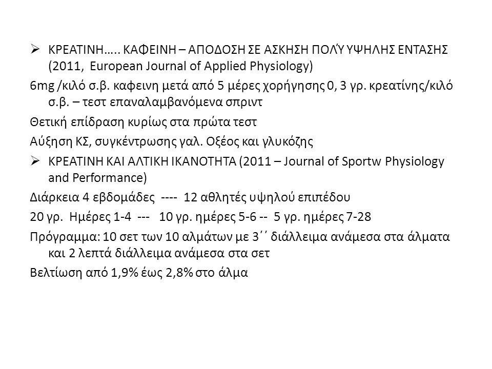  ΚΡΕΑΤΙΝΗ….. ΚΑΦΕΙΝΗ – ΑΠΟΔΟΣΗ ΣΕ ΑΣΚΗΣΗ ΠΟΛΎ ΥΨΗΛΗΣ ΕΝΤΑΣΗΣ (2011, European Journal of Applied Physiology) 6mg /κιλό σ.β. καφεινη μετά από 5 μέρες χ