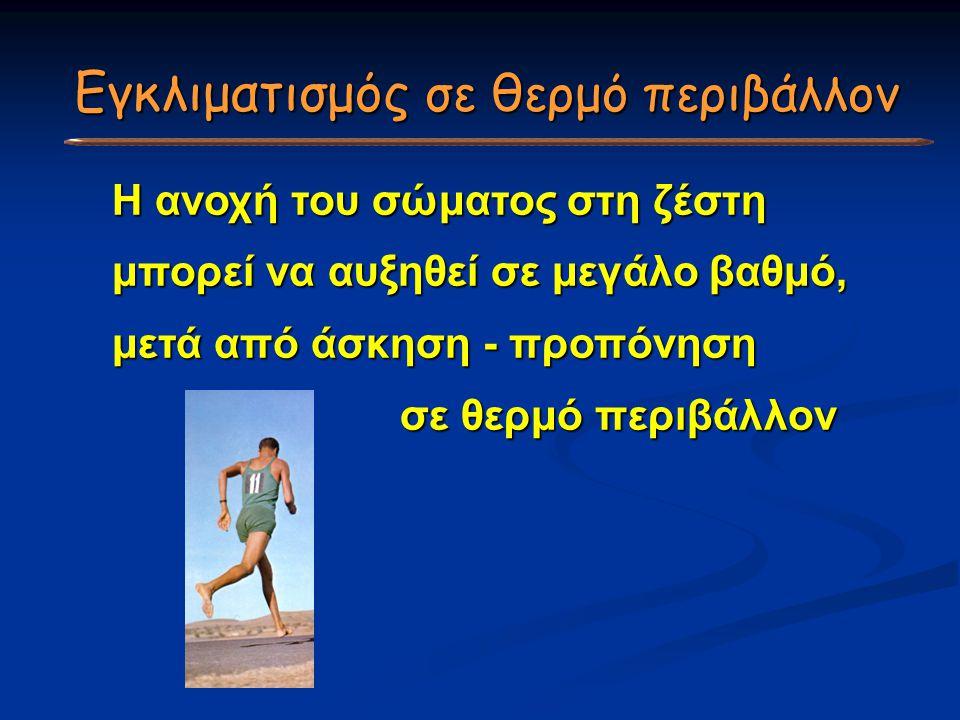 Η ανοχή του σώματος στη ζέστη μπορεί να αυξηθεί σε μεγάλο βαθμό, μετά από άσκηση - προπόνηση σε θερμό περιβάλλον Εγκλιματισμός σε θερμό περιβάλλον