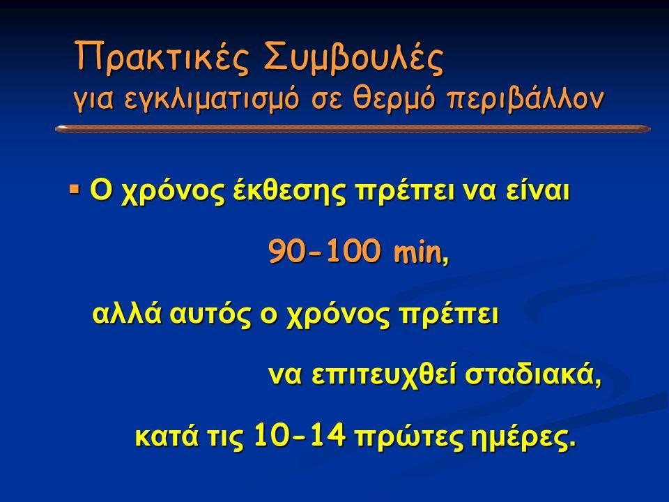  Ο χρόνος έκθεσης πρέπει να είναι 90-100 min, αλλά αυτός ο χρόνος πρέπει αλλά αυτός ο χρόνος πρέπει να επιτευχθεί σταδιακά, κατά τις 10-14 πρώτες ημέ