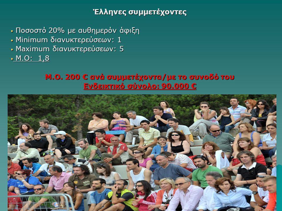 Έλληνες συμμετέχοντες Ποσοστό 20% με αυθημερόν άφιξη Ποσοστό 20% με αυθημερόν άφιξη Minimum διανυκτερεύσεων: 1 Minimum διανυκτερεύσεων: 1 Maximum διαν