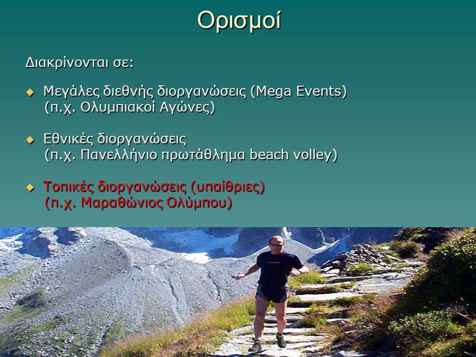 Ορισμοί Διακρίνονται σε:  Μεγάλες διεθνής διοργανώσεις (Mega Events) (π.χ. Ολυμπιακοί Αγώνες) (π.χ. Ολυμπιακοί Αγώνες)  Εθνικές διοργανώσεις (π.χ. Π