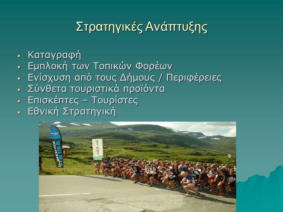 Στρατηγικές Ανάπτυξης Καταγραφή Καταγραφή Εμπλοκή των Τοπικών Φορέων Εμπλοκή των Τοπικών Φορέων Ενίσχυση από τους Δήμους / Περιφέρειες Ενίσχυση από τους Δήμους / Περιφέρειες Σύνθετα τουριστικά προϊόντα Σύνθετα τουριστικά προϊόντα Επισκέπτες – Τουρίστες Επισκέπτες – Τουρίστες Εθνική Στρατηγική Εθνική Στρατηγική