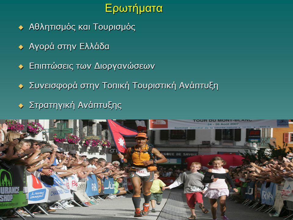 Ερωτήματα  Αθλητισμός και Τουρισμός  Αγορά στην Ελλάδα  Επιπτώσεις των Διοργανώσεων  Συνεισφορά στην Τοπική Τουριστική Ανάπτυξη  Στρατηγική Ανάπτ