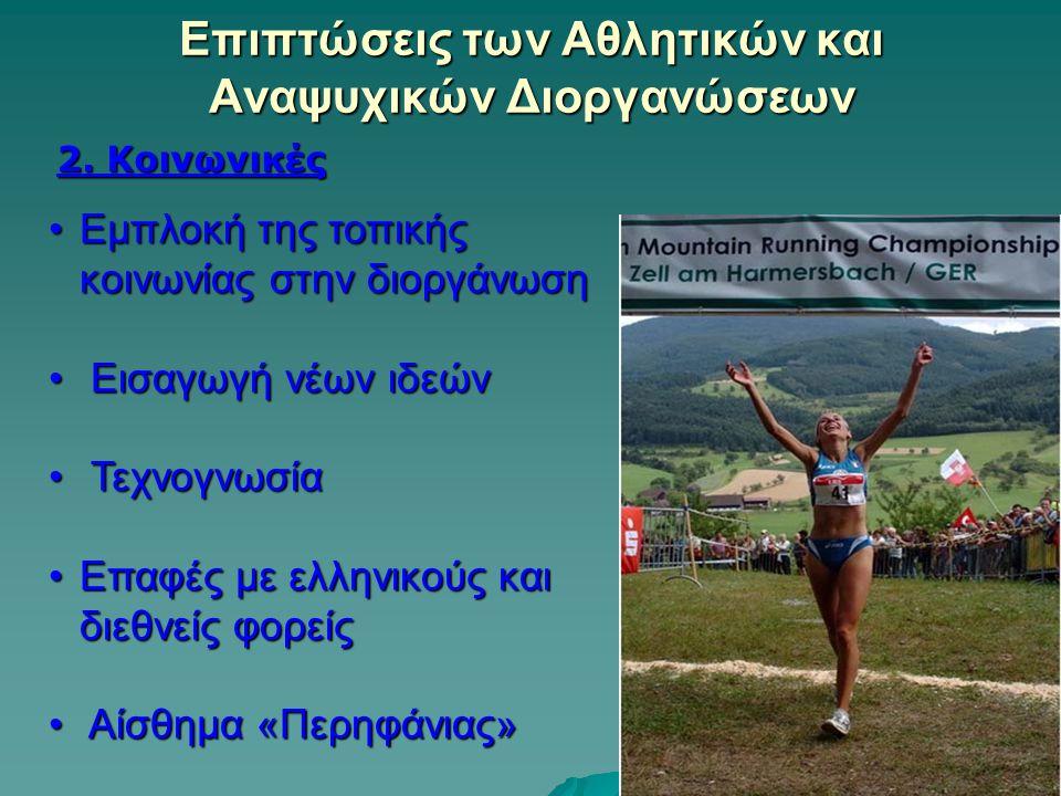 Επιπτώσεις των Αθλητικών και Αναψυχικών Διοργανώσεων 2. Κοινωνικές Εμπλοκή της τοπικής κοινωνίας στην διοργάνωσηΕμπλοκή της τοπικής κοινωνίας στην διο