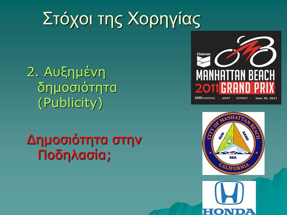 Στόχοι της Χορηγίας 2. Αυξημένη δημοσιότητα (Publicity) Δημοσιότητα στην Ποδηλασία;