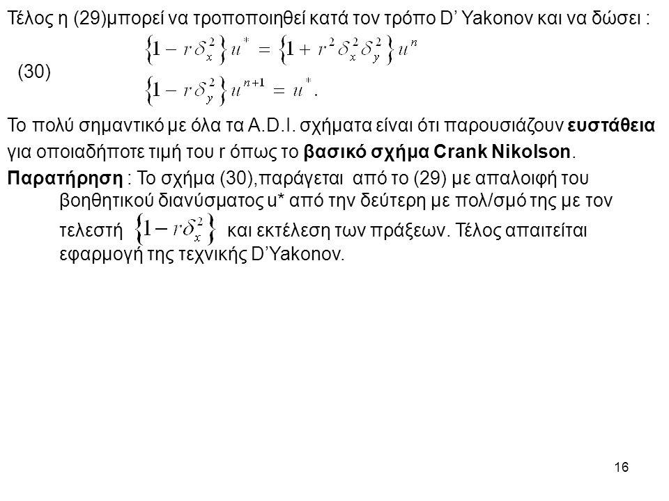 16 Τέλος η (29)μπορεί να τροποποιηθεί κατά τον τρόπο D' Yakonov και να δώσει : (30) Το πολύ σημαντικό με όλα τα A.D.I. σχήματα είναι ότι παρουσιάζουν