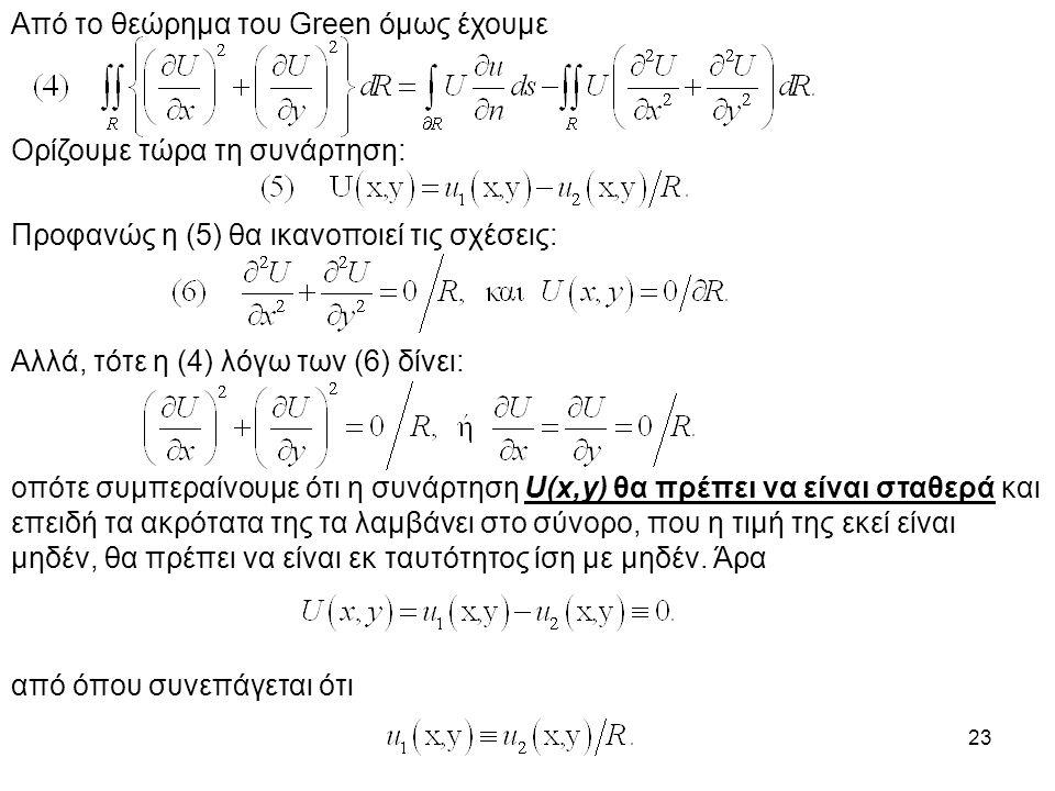 23 Από το θεώρημα του Green όμως έχουμε Ορίζουμε τώρα τη συνάρτηση: Προφανώς η (5) θα ικανοποιεί τις σχέσεις: Αλλά, τότε η (4) λόγω των (6) δίνει: οπότε συμπεραίνουμε ότι η συνάρτηση U(x,y) θα πρέπει να είναι σταθερά και επειδή τα ακρότατα της τα λαμβάνει στο σύνορο, που η τιμή της εκεί είναι μηδέν, θα πρέπει να είναι εκ ταυτότητος ίση με μηδέν.