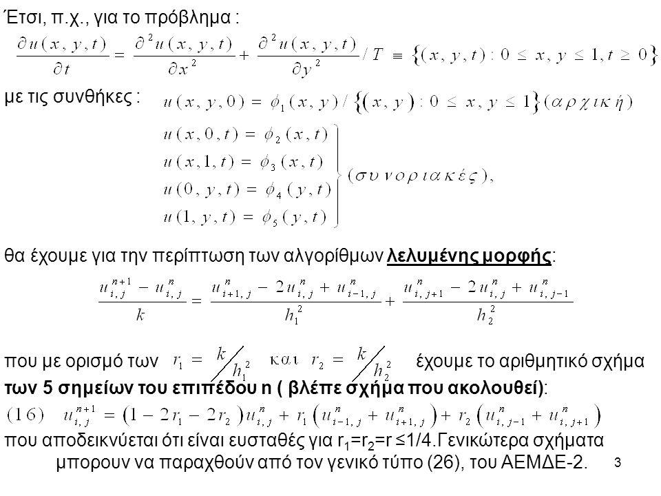 3 Έτσι, π.χ., για το πρόβλημα : με τις συνθήκες : θα έχουμε για την περίπτωση των αλγορίθμων λελυμένης μορφής: που με ορισμό των έχουμε το αριθμητικό σχήμα των 5 σημείων του επιπέδου n ( βλέπε σχήμα που ακολουθεί): που αποδεικνύεται ότι είναι ευσταθές για r 1 =r 2 =r ≤1/4.Γενικώτερα σχήματα μπορουν να παραχθούν από τον γενικό τύπο (26), του ΑΕΜΔΕ-2.