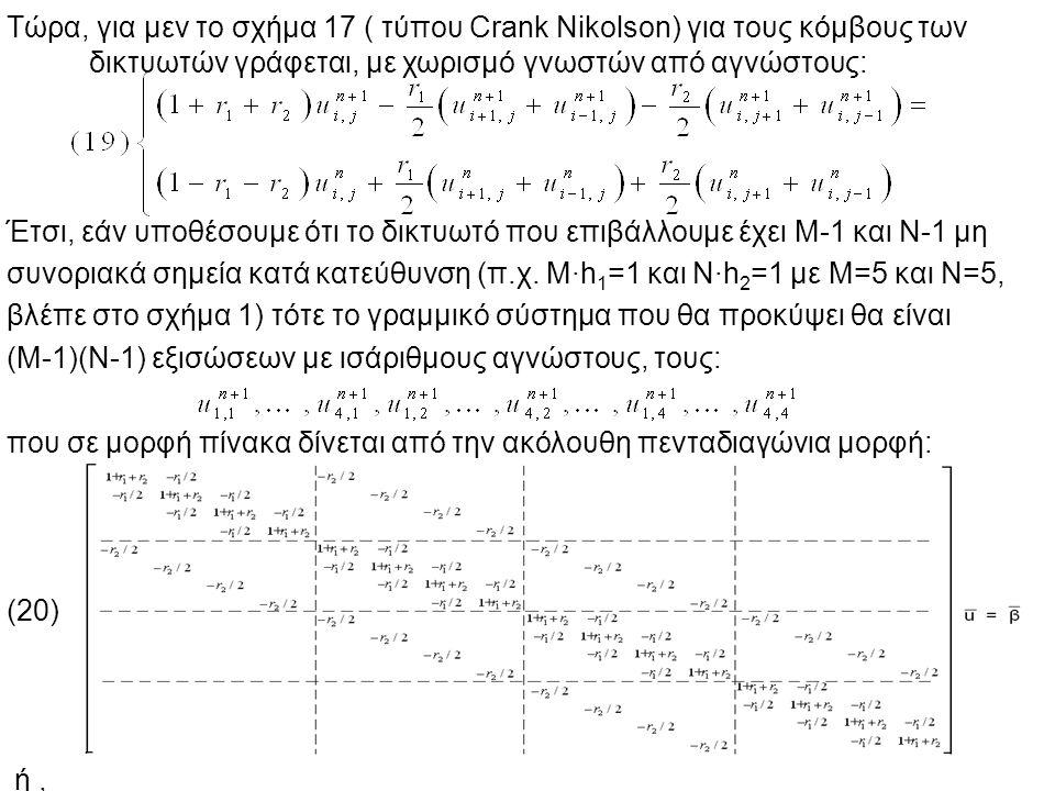 6 Τώρα, για μεν το σχήμα 17 ( τύπου Crank Nikolson) για τους κόμβους των δικτυωτών γράφεται, με χωρισμό γνωστών από αγνώστους: Έτσι, εάν υποθέσουμε ότι το δικτυωτό που επιβάλλουμε έχει Μ-1 και Ν-1 μη συνοριακά σημεία κατά κατεύθυνση (π.χ.